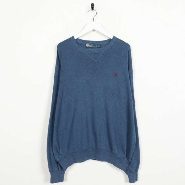 Vintage RALPH LAUREN Small Logo Knitted Sweatshirt Jumper Blue | XL