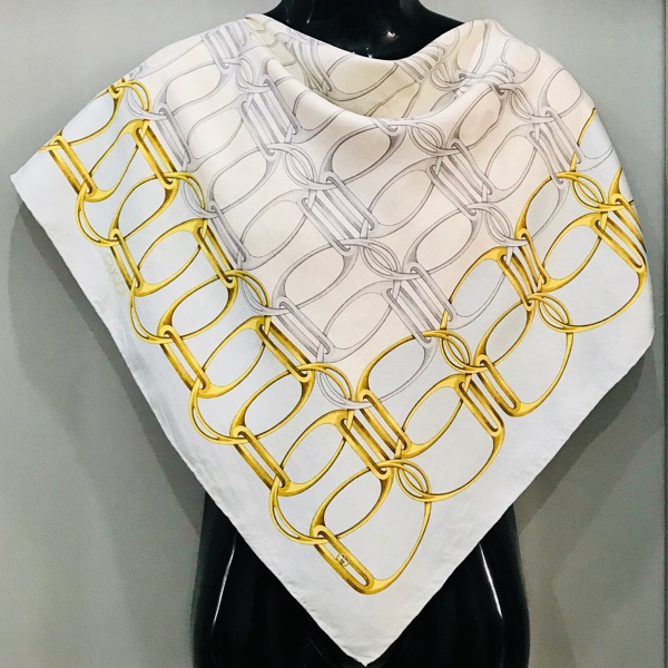 Vintage Gucci Gold & Silver Chain Theme Silk Scarf