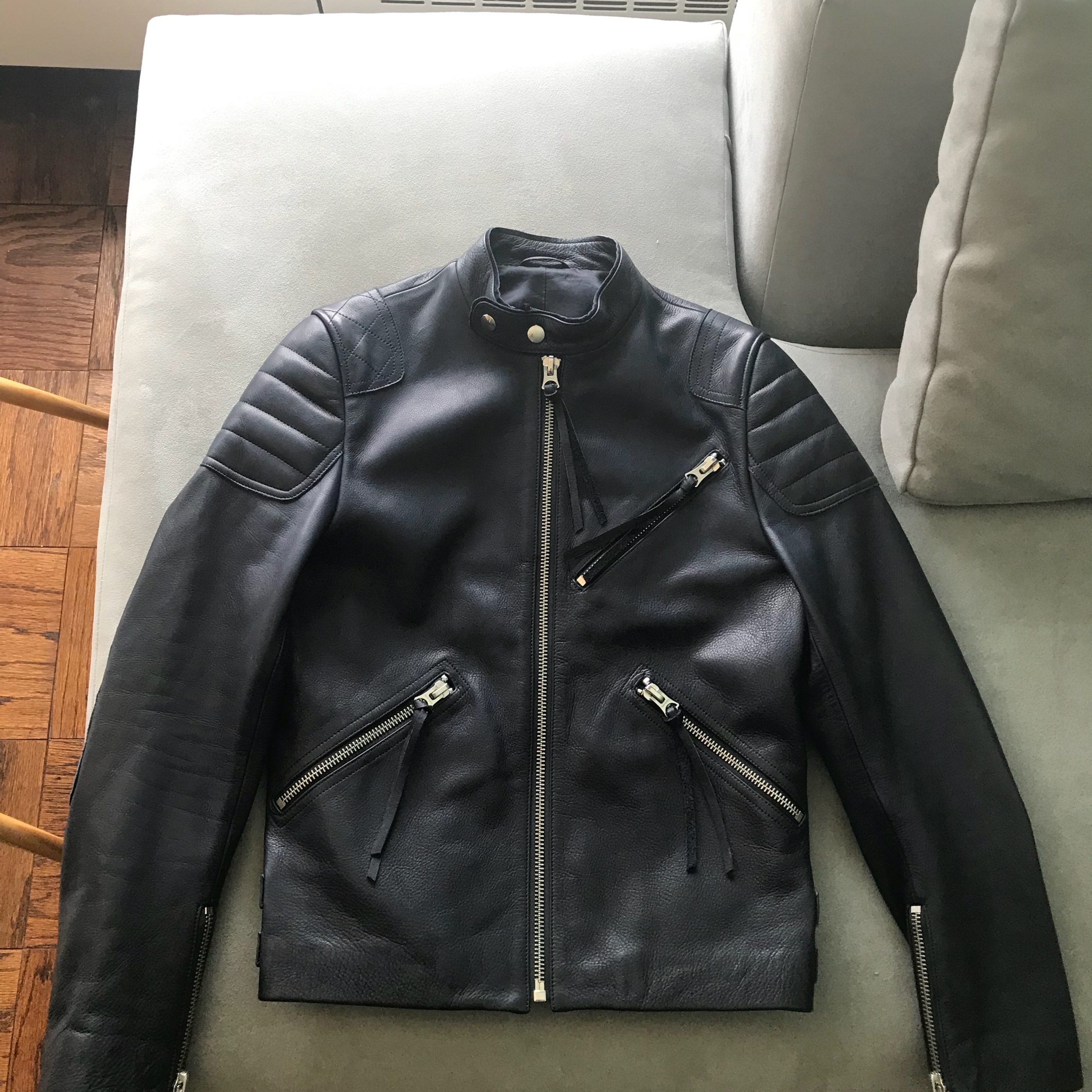 arriving new release official Acne Studios Oliver Navy Blue Leather Jacket