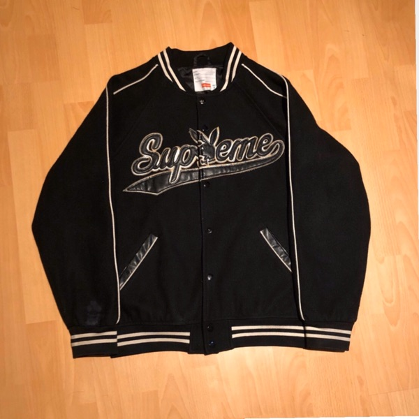 Supreme Playboy Wool Varsity Jacket Black
