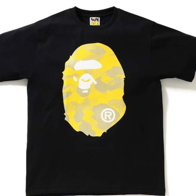 Bape Head Black And Yellow Tee
