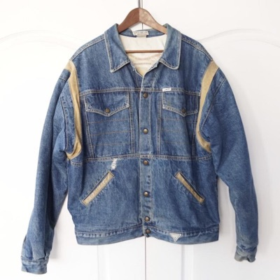 Guess Jeans Denim Leather Tirm Trucker Jacket