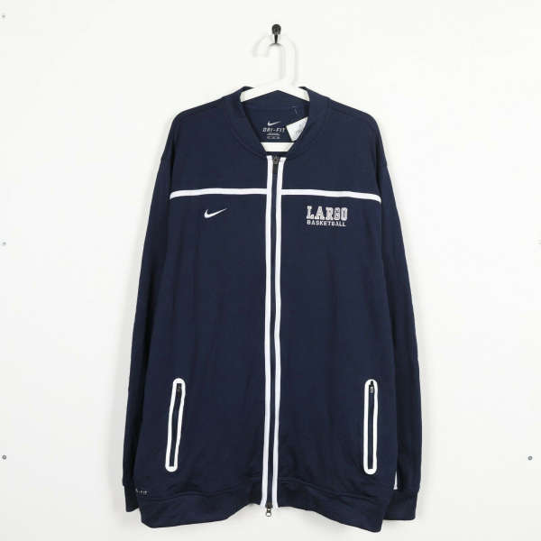 Vintage NIKE Small Logo Zip Up Track Top Jacket Navy Blue | 2XL