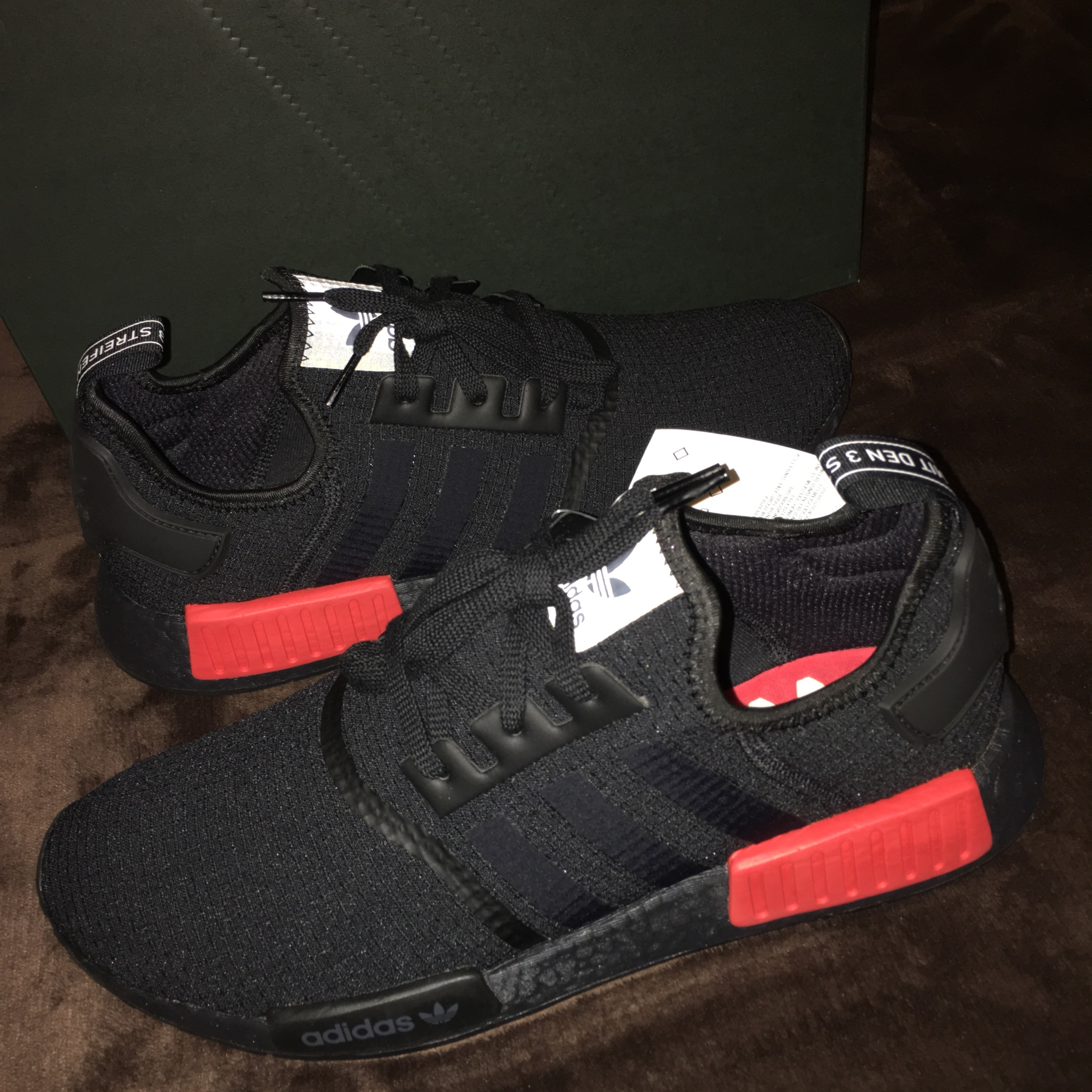 new product 50637 57b21 Adidas Nmd R1 Core Black Lush Red