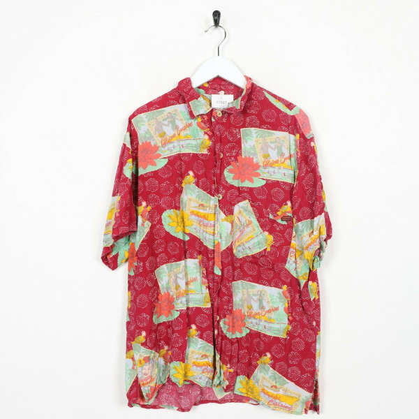 Vintage Abstract Short Sleeve Festival Party Shirt Large L