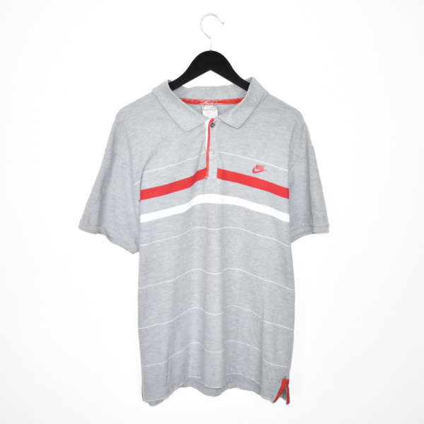 Vintage Nike polo shirt tee blouse top in grey red and white