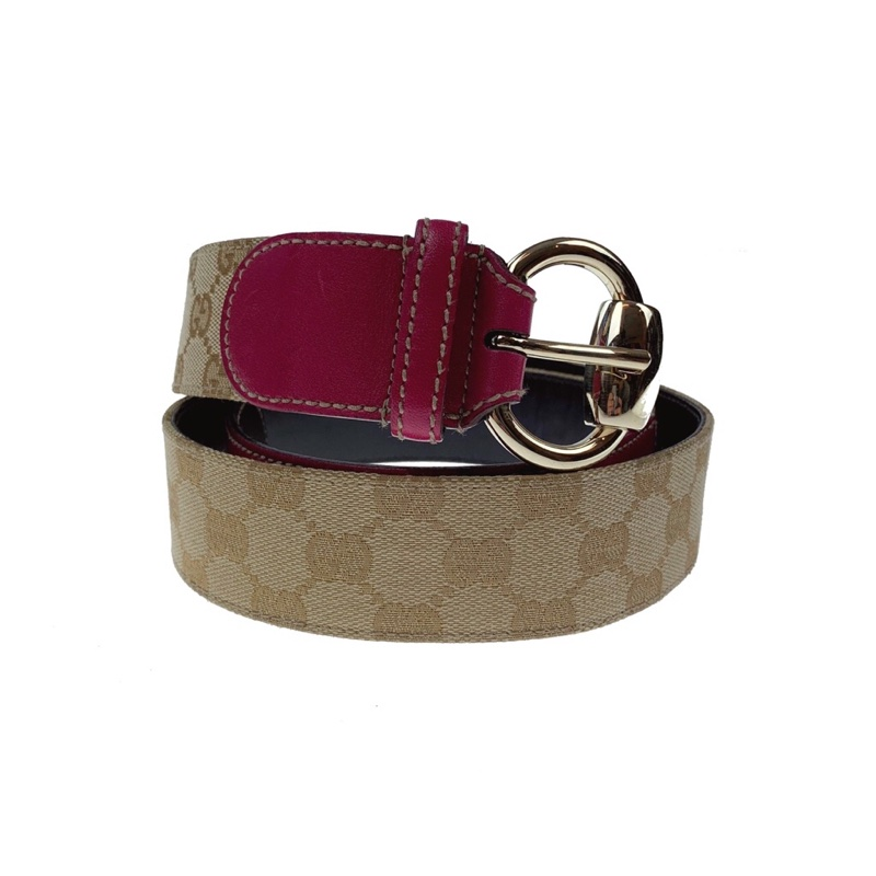Gucci Monogram Pink Leather Belt