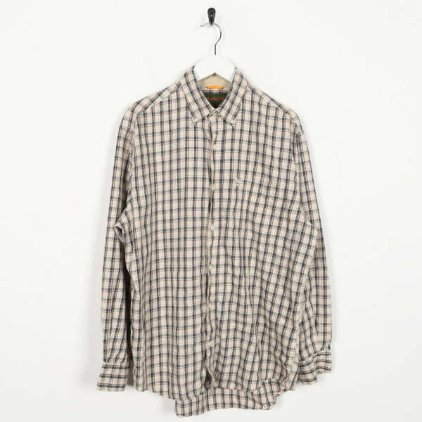 Vintage TIMBERLAND Small Logo Long Sleeve Check Shirt Beige | Small S