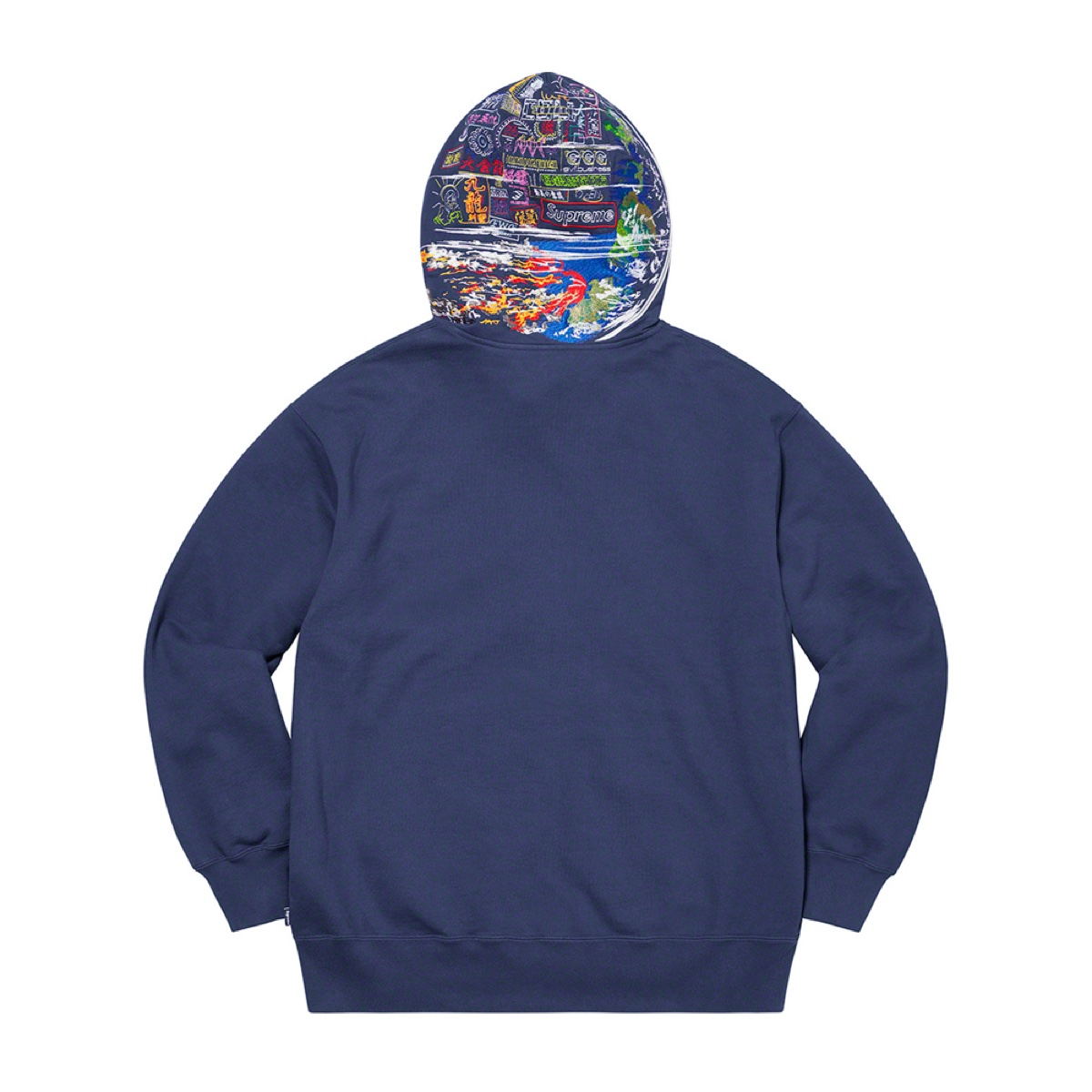 Globe Zip Up Hooded Sweatshirt Navy