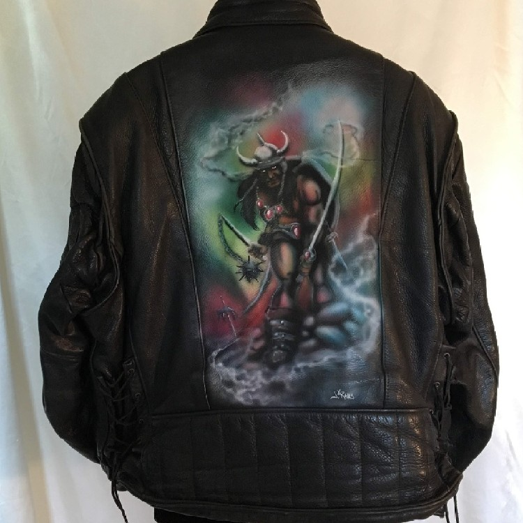 52ded30be9388d Vintage Leather Jacket With Airbrushed Viking On Back