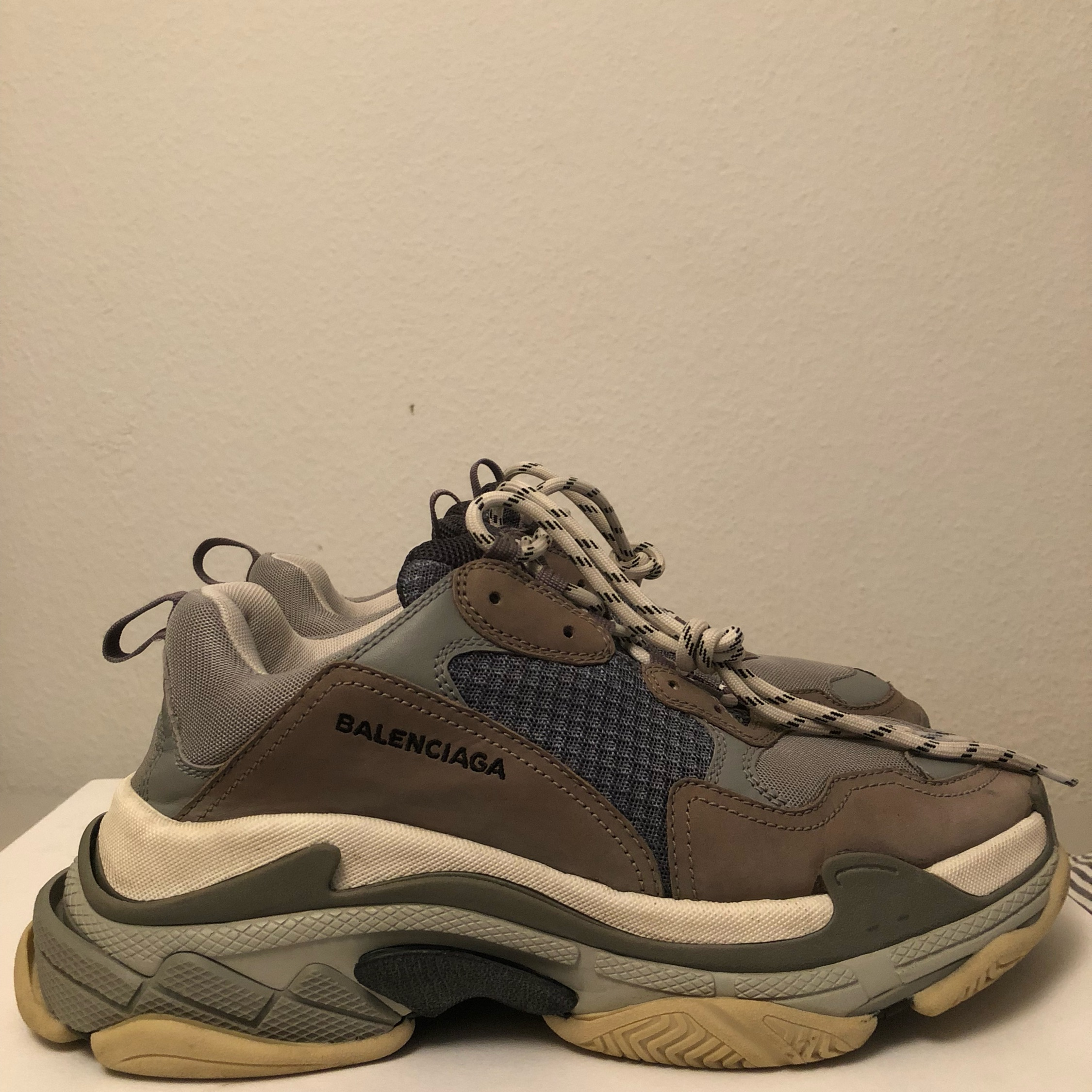 Triple S Trainers Bicolour Grey Blue White for Balenciaga