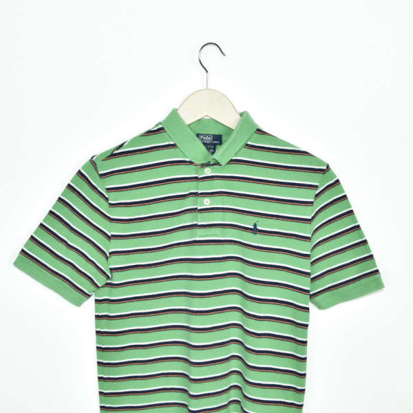 Vintage Ralph Lauren polo shirt t-shirt pullover in bright green with stripes