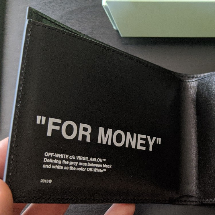 """OFF-WHITE Black Leather """"For Money"""" Wallet"""