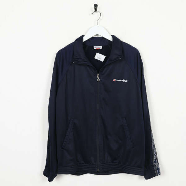 Vintage 90s CHAMPION Small Logo Tracksuit Top Jacket Navy Blue | Small S