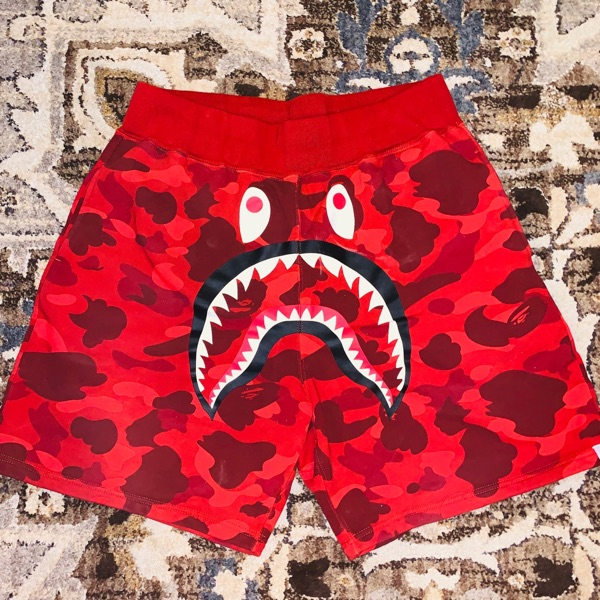 BAPE Shark Sweat Shorts Red