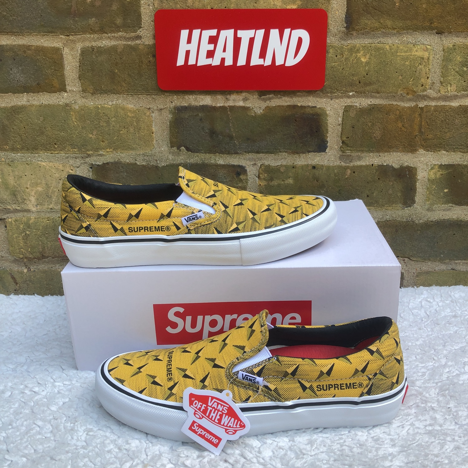 Supreme X Vans Diamond Plate Slip-On Pro Yellow