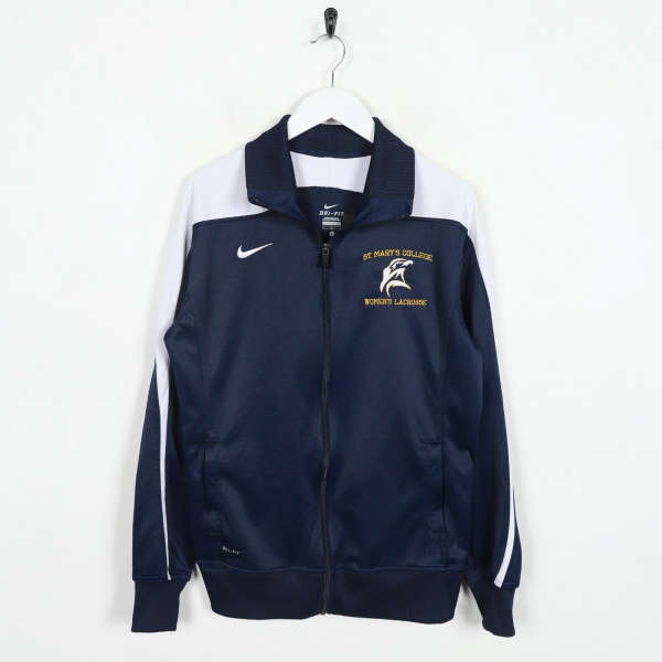Vintage NIKE Small Logo Tracksuit Top Jacket Navy Blue | Large L