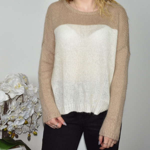 Dorothy Perkins sweatshirt jumper sweater top pullover in white an light brown