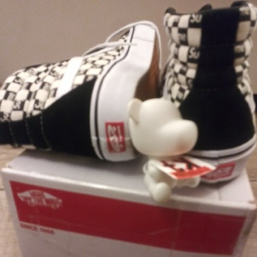 Vans X Supreme Checkers Black Sk8-hi Reissue 9.5
