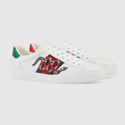 New Ace Men's Snake Sneakers, White, Gucci