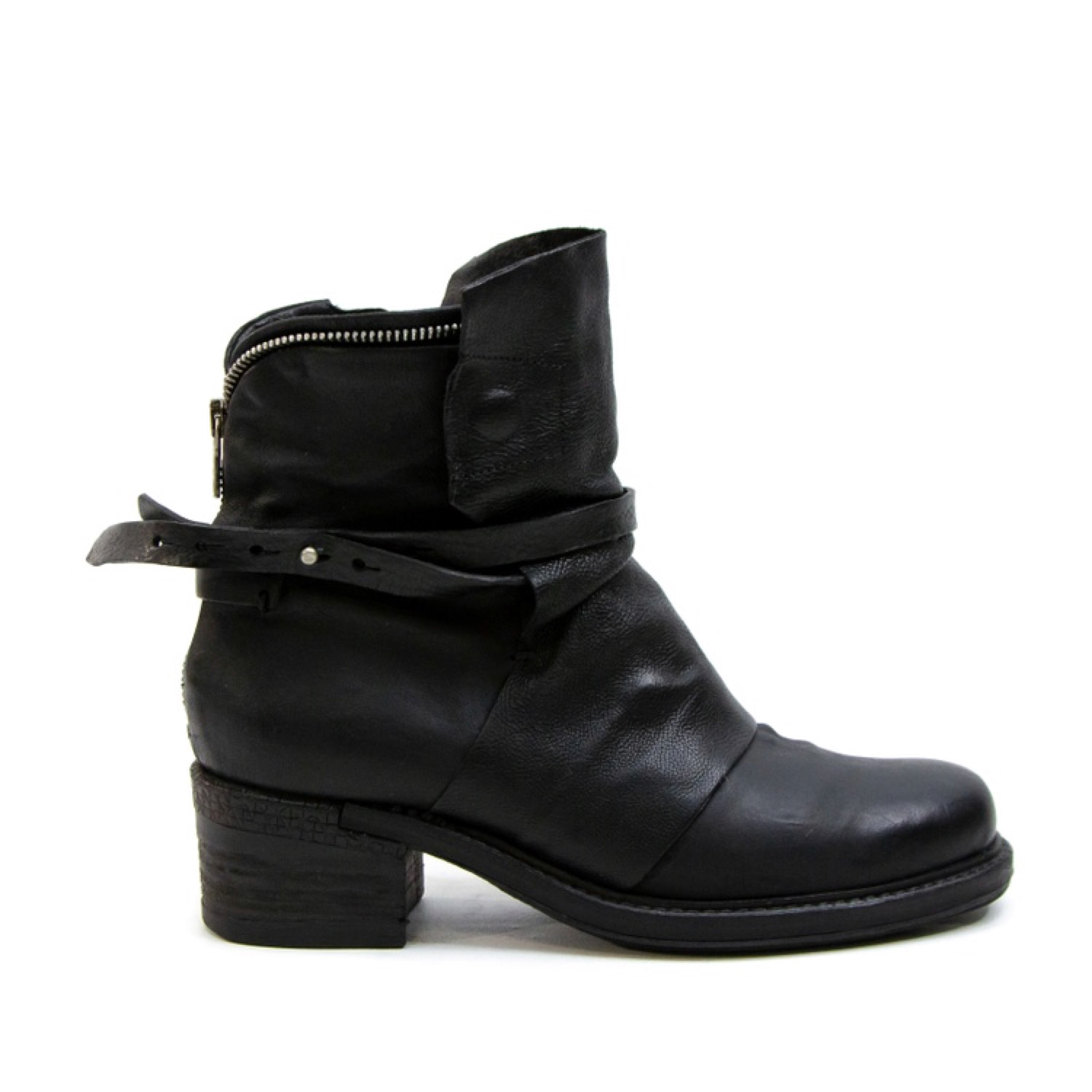 top quality look out for great prices A.S. 98 Black Leather Zip Up Boots