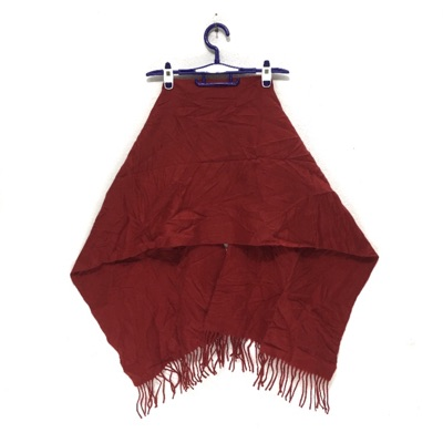 Perry Ellis Solid Red Scarf Fringes Muffler