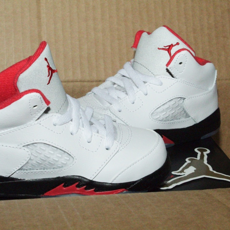 Jordan 5 retro fire red silver tongue (TD)