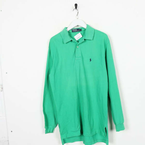 Vintage RALPH LAUREN Small Logo Long Sleeve Polo Shirt Top Green | Small S