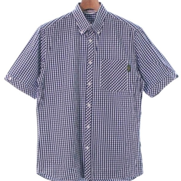 Bape Shirts Navy x White Short Sleeves Checkered
