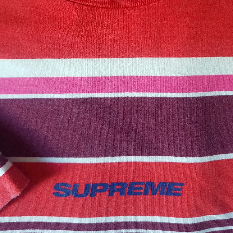 New FW19 Supreme Stripes Short Sleeve Red Top Size M