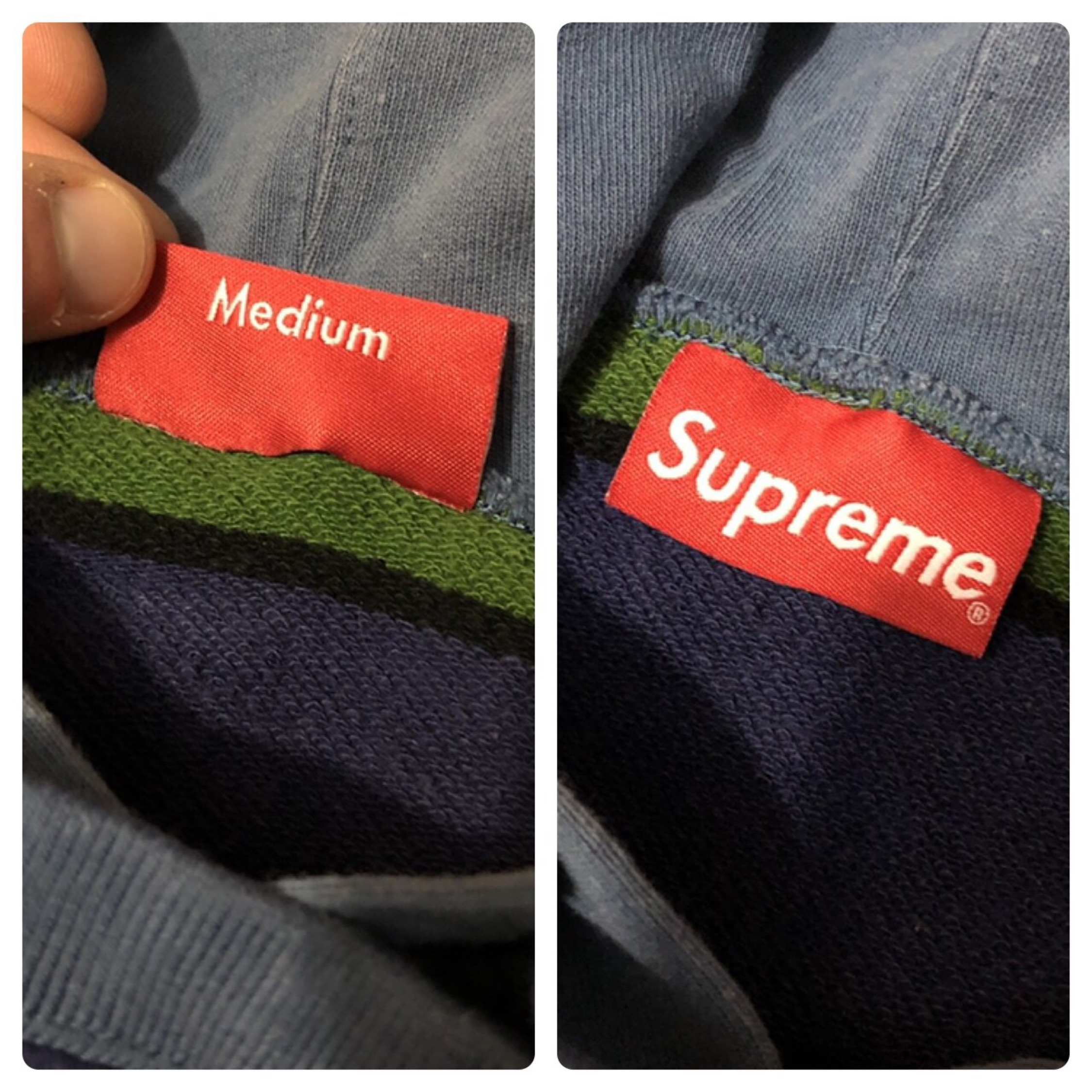 Supreme Striped Side Logo Pullover Hoodie