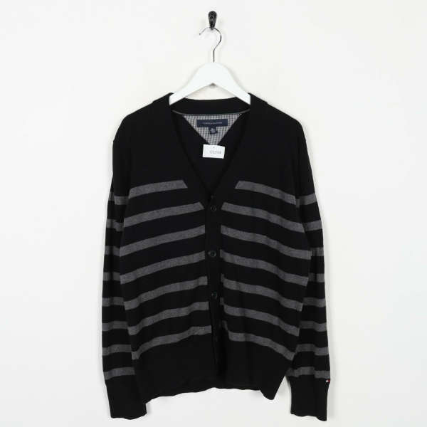 Vintage TOMMY HILFIGER Button Up Cardigan Sweatshirt Jumper Black Small S