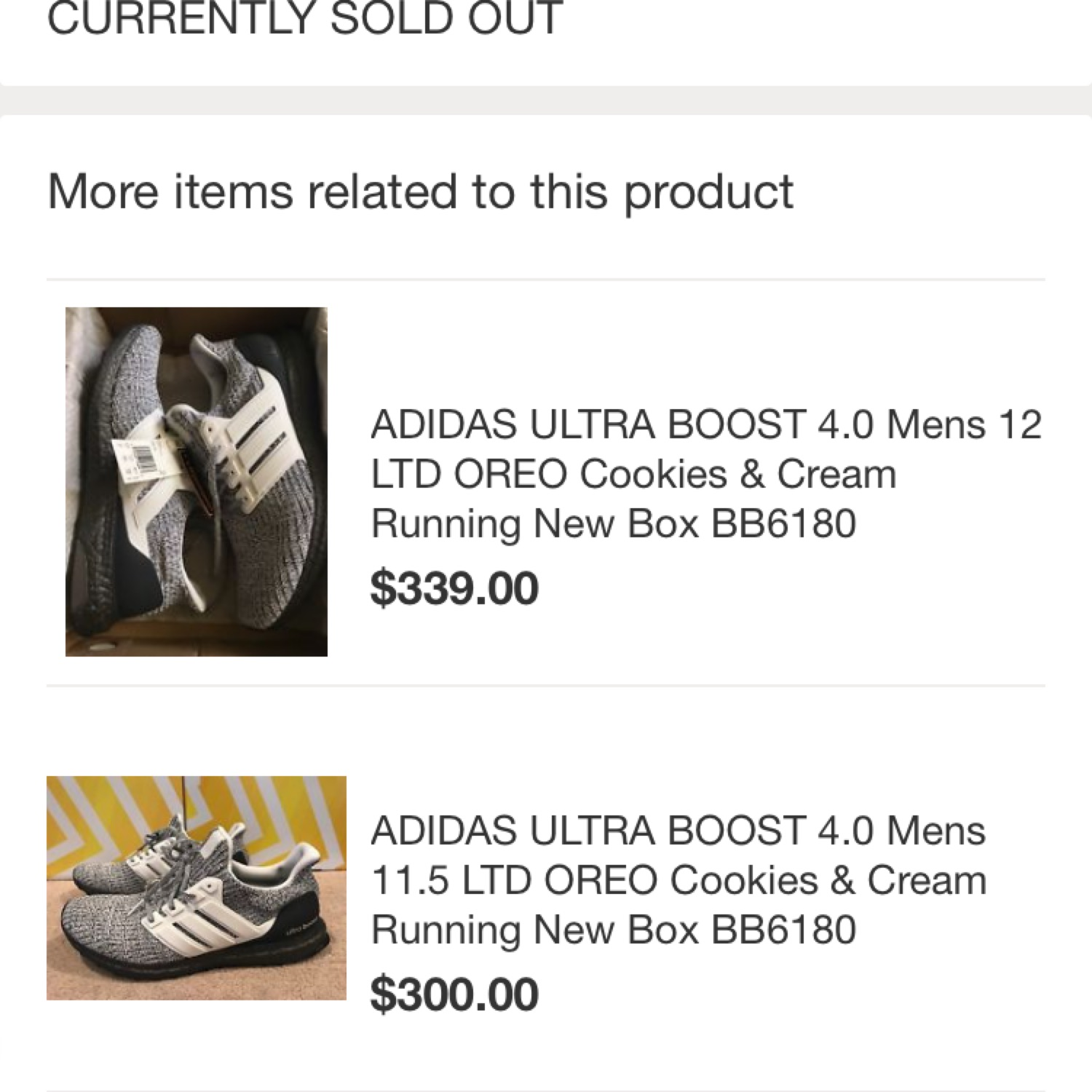 ADIDAS ULTRA BOOST 4.0 Cookies and Cream Men's US Size 11
