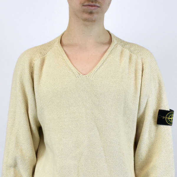 Vintage Stone Island light knit sweater pullover jumper in white
