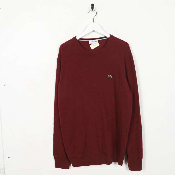 Vintage LACOSTE Small Logo Knitted Sweatshirt Jumper Red | Large L