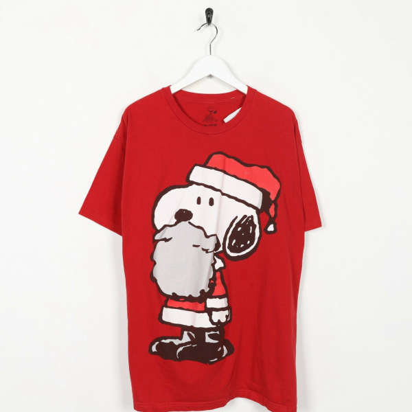Vintage PEANUTS Snoopy Big Logo T Shirt Tee Red | XL