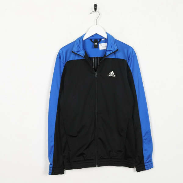 Vintage ADIDAS Small Logo Tracksuit Top Jacket Black Blue small S