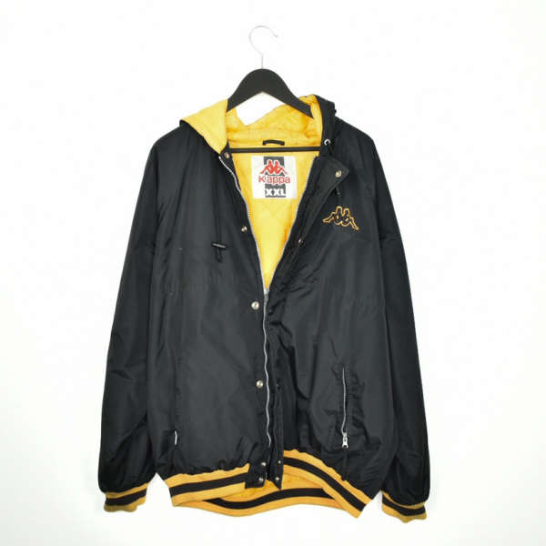 Vintage Kappa bomber jacket windbreaker track jacket in black and yellow with a hood