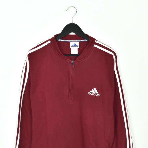 Vintage Adidas quarter zip up sweatshirt jumper hoodie t-shirt pullover in maroon and white