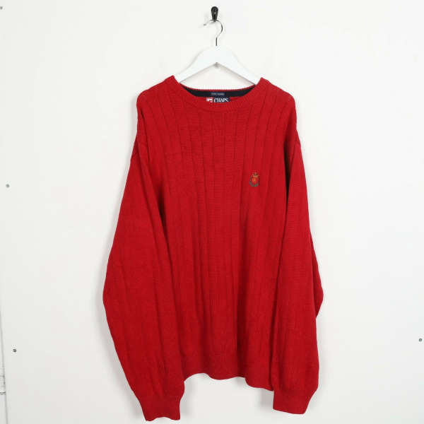 Vintage CHAPS RALPH LAUREN Small Logo Knitted Sweatshirt Jumper Red | Large L