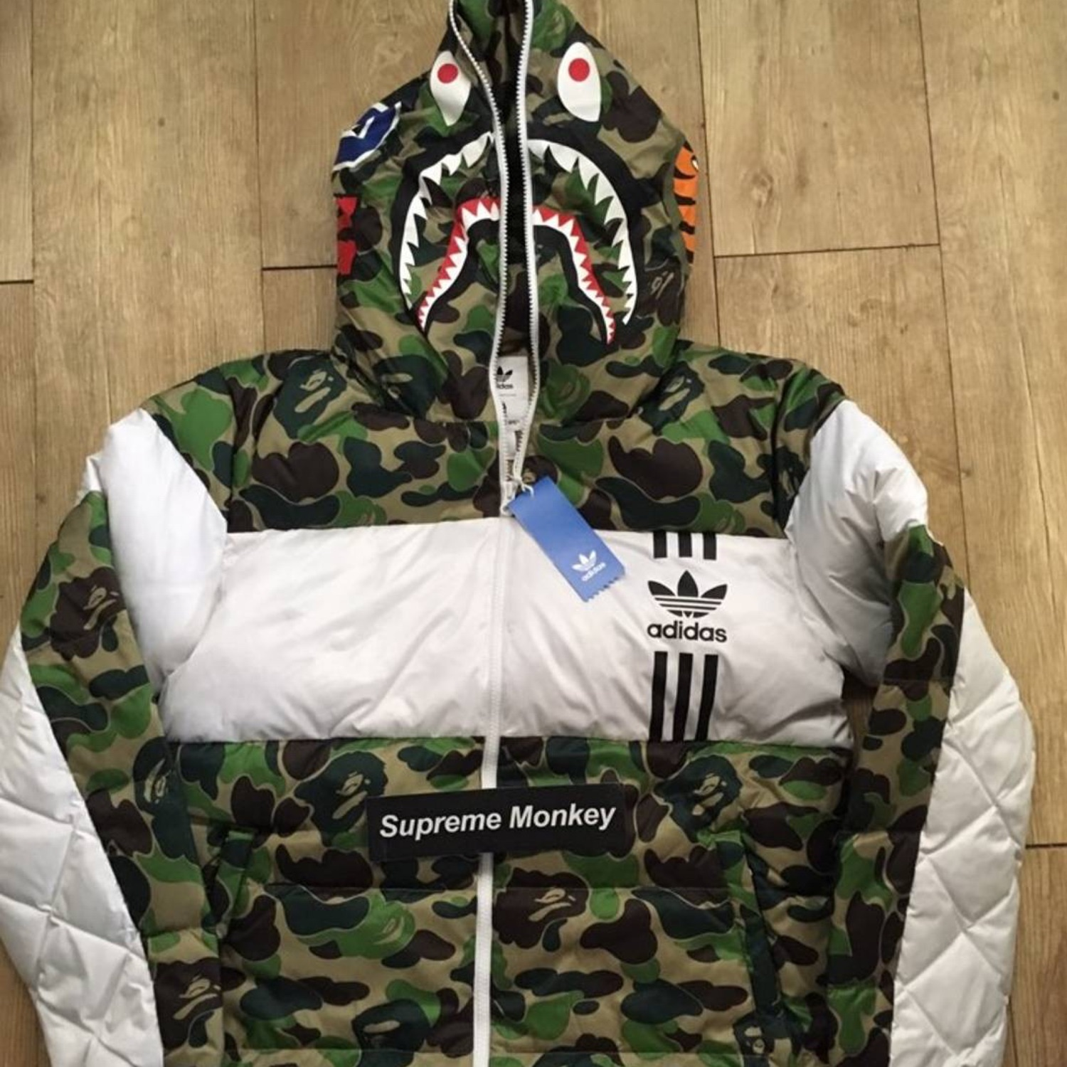 price reduced official supplier details for Bape Adidas Shark Down Jacket Size Medium Puffer