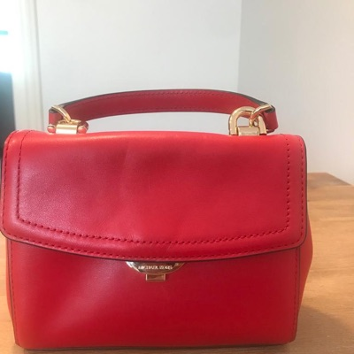 Red Leather Micheal Kors Evening Bag