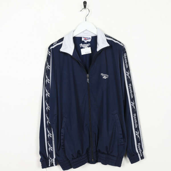 Vintage 90s REEBOK Tape Arm Logo Tracksuit Top Jacket Navy Blue | Medium M