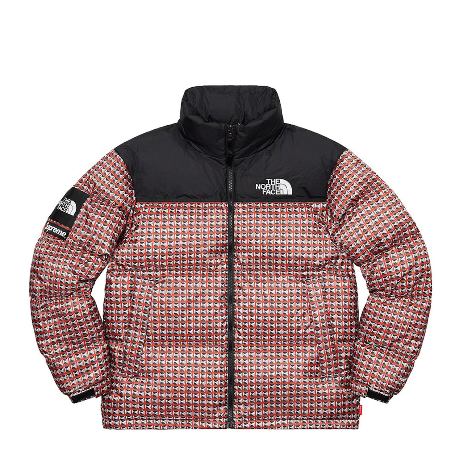 North Face Studded Nuptse Jacket Red