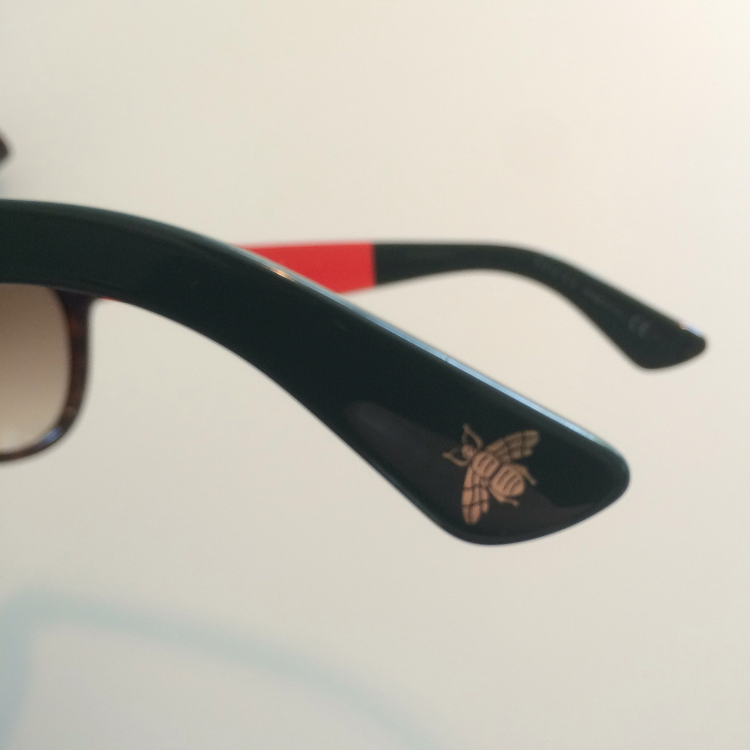Gucci Red And Green Bee Sunglasses