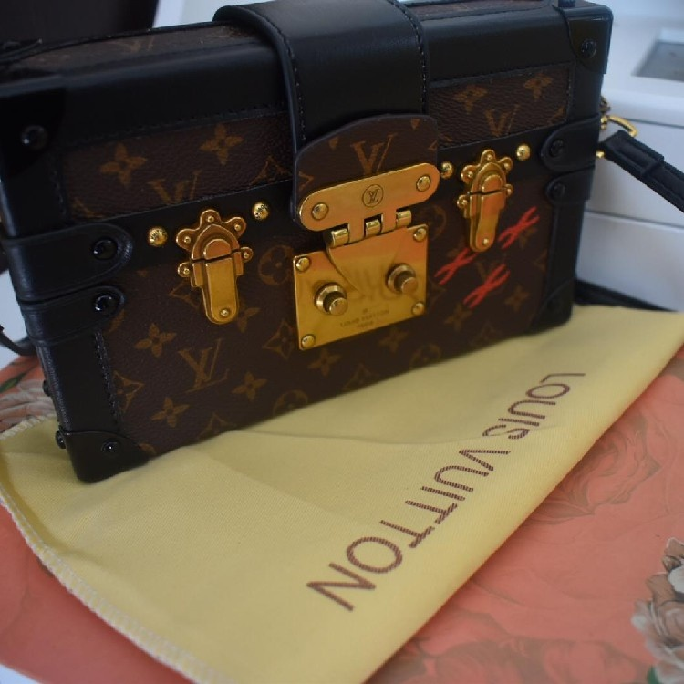 Louis Vuitton Limited Edition Brown and Black Canvas, Petite Malle Mini trunk Bag RPP £3700