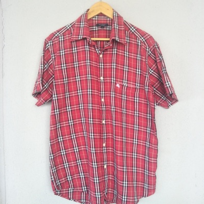 Burberry Red Nova Checked Short Sleeve Shirt