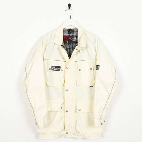 Vintage Women's BELSTAFF Nylon Harrinton Coat Jacket Cream | Small S