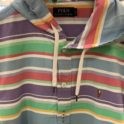 Polo Ralph Lauren Deadstock Jockey Logo Striped Rain Jacket