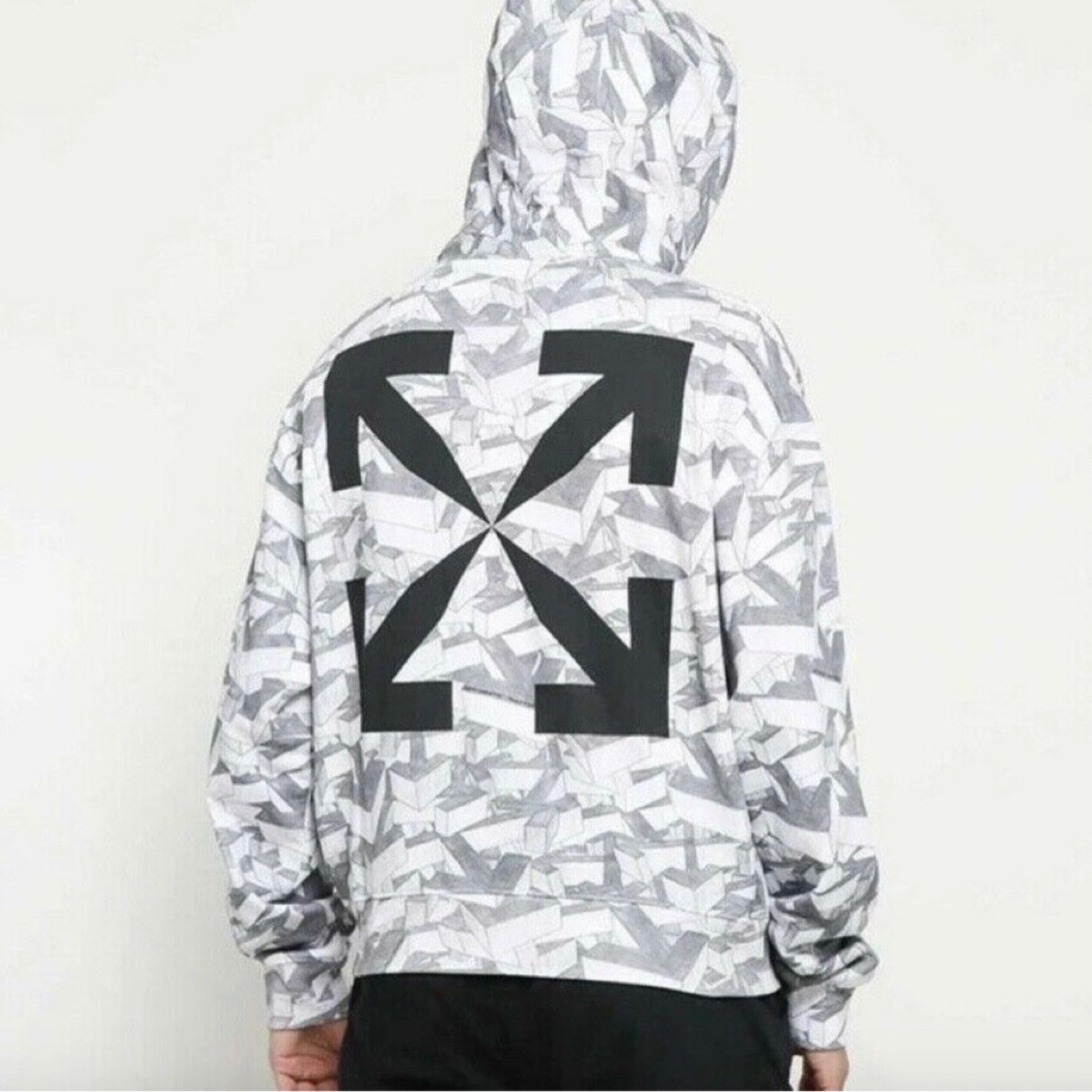 Off White All Over 3D Sketch Arrows Pattern Hoodie